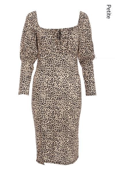 Petite Tan Leopard Puff Sleeve Midi Dress